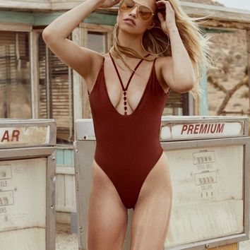 Beach Bunny Ireland Rust Color One Piece Ring Accent Swimsuit Swimwear (Other Colors Available)