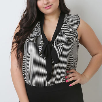 Plus Size Ruffle Bow Neckline Striped Blouse | UrbanOG
