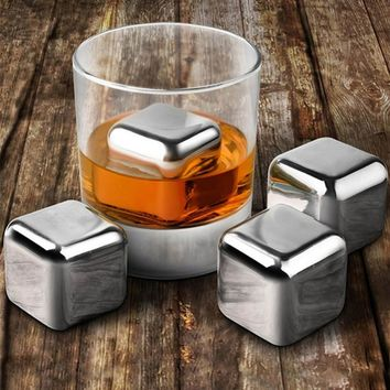 4 Piece Stainless Steel Whiskey Stones Cooling Set