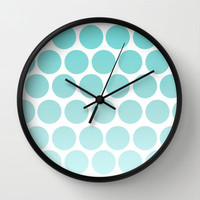 Blue Polka Dot  Clock - Wall Clock - Blue Polka Dots - Art Clock - Fun Wall Clock - Made to Order