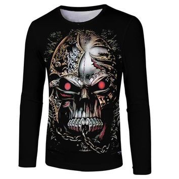 Skull Skulls Halloween Fall Long Sleeve 3D T Shirt Men T-Shirt  Printed tshirt Men Fitness Compression Shirt Summer Tops Tees Harajuku Fashion shirts Calavera