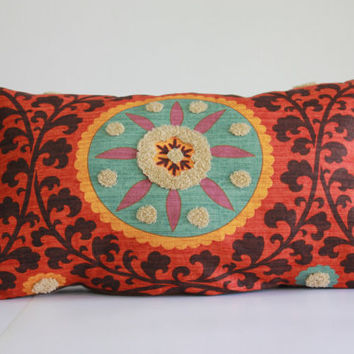 Designer 3Park Waverly Tribal Sunset Pillow Cover Decorative Cushion Cover Tufted Embroidery Orange Teal Taupe Brown Lavender Large Pillow