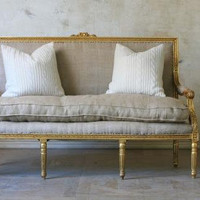 french louis XVI gilt sofa in burlap by bohemiennes on Etsy
