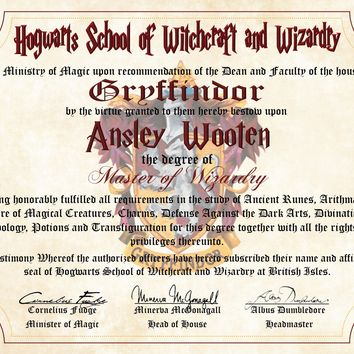 Gryffindor House Personalized Harry Potter Diploma - Hogwarts School of Witchcraft and Wizardry Degree of Master of Wizardry