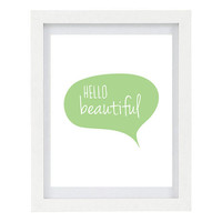 Hello Beautiful, Typography Art Print, Modern Home Decor, Mint Home Decor, 8 x 10 Print