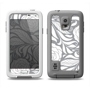 The Gray Floral Pattern V3 Samsung Galaxy S5 LifeProof Fre Case Skin Set
