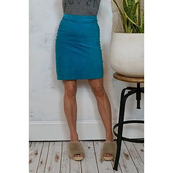 Vintage Turquoise Suede Skirt