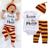 New Year 3PCS Baby Clothing Set Newborn Baby Boys Girls Snuggle this Muggle Bodysuit+Stripe Pants+Hat Outfits Clothes Sets 0-18M