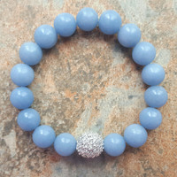 Air Blue Angelite Crystal Pave Bracelet