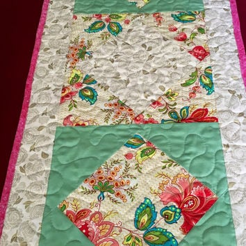 Handmade quilted table runner - floral - homemade table runner - home decor