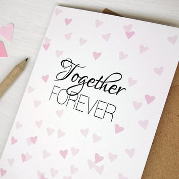 Together forever wedding gift card pink hearts confetti anniversary card Valentine's Day