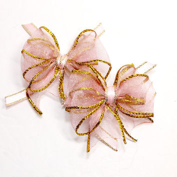 Pink and Gold Large Dog Hair Bows. Pink Organza Ribbon with Metallic Gold Edge Tied with Pink Satin Ribbon with Gold Edge. Small Dog Bow