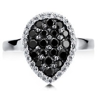 Sterling Silver 925 Black Cubic Zirconia CZ Flat Pear Fashion Ring #r487-2