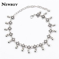 Silver Color Anklets for Women Vintage Bracelet Bohemian Flower chaine cheville barefoot sandals halhal Foot Jewelry