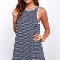 Rhythm The Strokes Ivory and Navy Blue Striped Dress