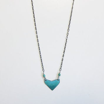 Long teal enamel necklace Chevron heart layer necklace Tiny turquoise pendant Geometric boho tribal necklace