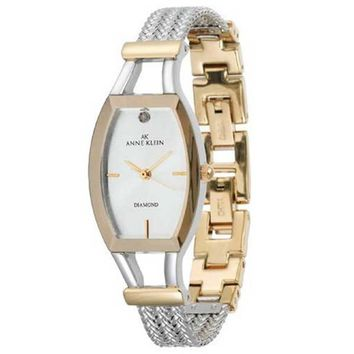 Anne Klein 10-8031SVTT Women's Two Tone Rose Gold Plated White Dial Diamond Watch