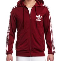 adidas Men's Adi Hooded Flock Track Top 2 , Cardinal/ White, Large