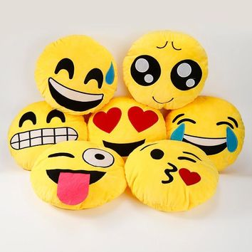 30*30cm Cute Emoji Pillows QQ Smiley Emotion Soft Decorative Cushions Stuffed Plush Toy Doll Christmas Home Decor Textile JSX