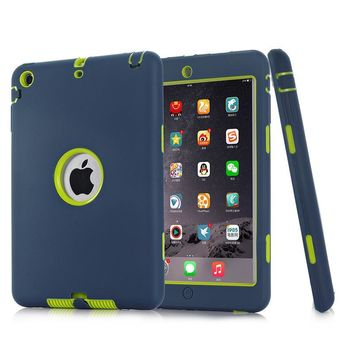 HCXX HOT!For iPad mini 1/2/3 Retina Kids Safe Armor Shockproof Heavy Duty Silicone Hard Case Cover free Screen protector film+stylus