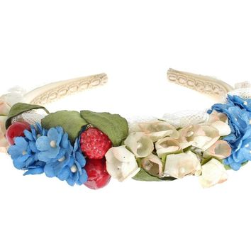 Multicolor Silk Floral Crystal Runway Headband Hair Diadem