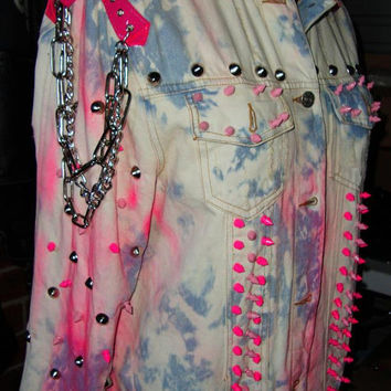 TRASHGLAM CUSTOM made punk BARBIE neon pink skull winged heart print studded chained jacket