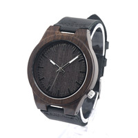 BOBO BIRD B12 Black Wooden Watch Mens Top Luxury Brand Japan Miyota 2035 Movement Quartz Watch with Leather Strap in Gift Box