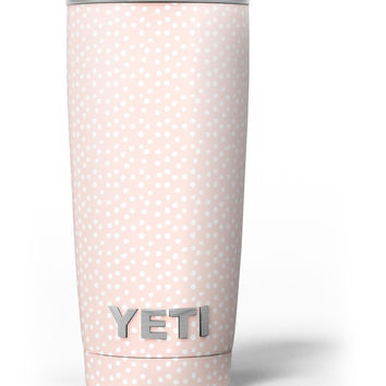 The Coral and White Micro Polka Dots Yeti Rambler Skin Kit