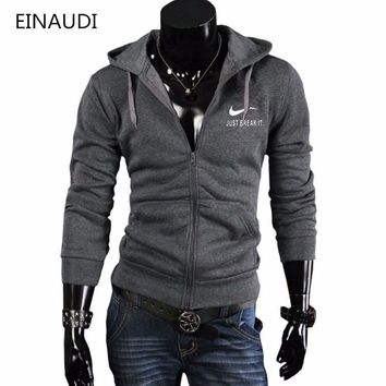 Autumn Winter Hoodies  Men Sweatshirt Fashion Hoodies Street wear Chest print Zipper cardigan Hooded Clothing