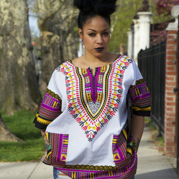 Unisex Dashiki White Pink African Shirt - Kings and Queens