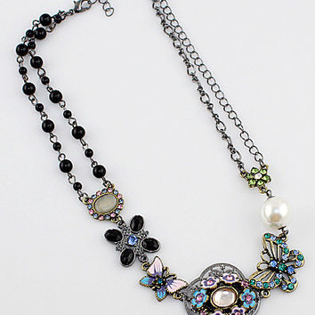 Floral and Butterfly with Rhinestone Necklace
