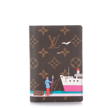 LOUIS VUITTON Monogram Illustre Transatlantic Passport Cover Rose Ballerine