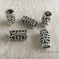 Free Shipping 10Pcs/Lot Tibetan silver hair braid dread dreadlock beads cuff approx 7mm hole