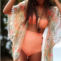 Thin Print Pom Pom Beach Cover Up