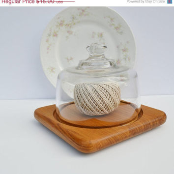 ON SALE Cheese Tray with Glass Dome Vintage Wood Cheese Tray