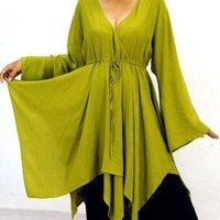 A249 CHARTREUSE/BLOUSE-TOP-TUNIC-ASYM-LAYERED-MADE 2 ORDER-2X 3X 4X | lotustraders - Clothing on ArtFire