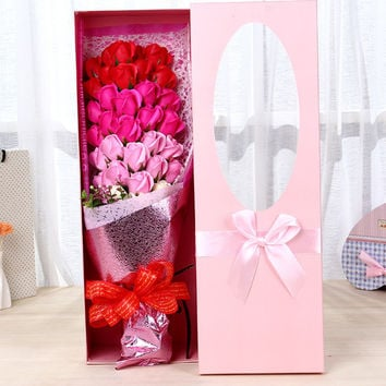 The new creative wedding gifts on valentine's day gift box jewelry creative soap flowers gift box 33 Chinese valentine's day roses girlfriend soap soap flowers gift box holding flowers Pink