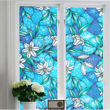 Orchid Magnolia Flower Stained Glass Window Film Romantic Rome Decoration Privacy Protection 17.7x39.4inch