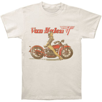 Van Halen Men's  Biker Pin Up T-shirt Sand