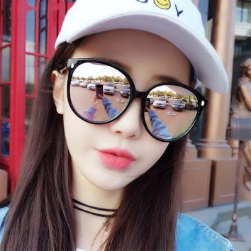2017 new fashion sunglasses big colorful reflective face all-match soft sister glasses