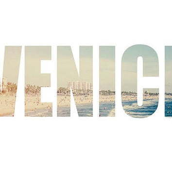 Venice Typeography Photography Fine Art Print Beachside Los Angeles California Santa Monica Pier waves Summer blue Mint