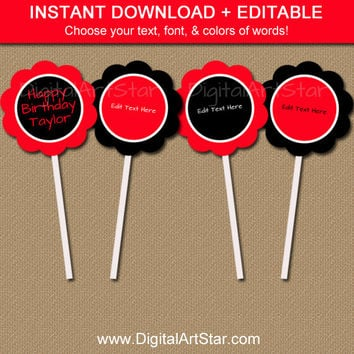 Red & Black Birthday Cupcake Toppers - Printable Cupcake Toppers - EDITABLE Birthday Decorations - Valentines Day Cupcake Toppers - Digital