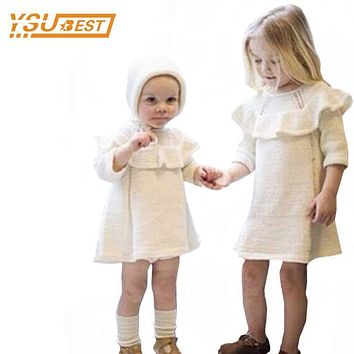 New 2017 Baby Girls Sweater Dress+Cap 2pcs Girls Clothes 0-5yrs Infant Girl Knitted Dress Brand Cotton Kids Long Sleeve Clothes