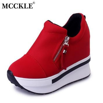 MCCKLE Fashion Slip On Canvas Women Shoes Platform Zip Increased High Heels Female Shake Shoes Autumn Casual Wedges Ladies Shoes