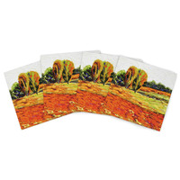 "Jeff Ferst ""Summer Breeze"" Orange Foliage Indoor/Outdoor Place Mat (Set of 4)"