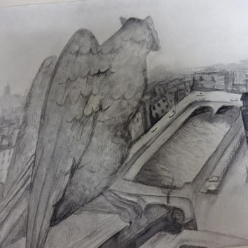 Notre Dame Gargoyle overlooking the city of Paris Watercolor