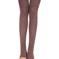 Coffee Colored Hosiery Pantyhose Tattoo Legging