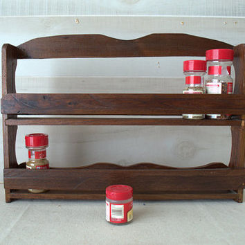 Vintage Wood Wall Spice Rack,  Hanging 2 Tier Spice Organizer, Wall Mounted Spice Shelf, Standing Spice Rack