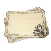 Mad Hatter Recipe Cards in Cream - Alice in Wonderland - Pack of 12