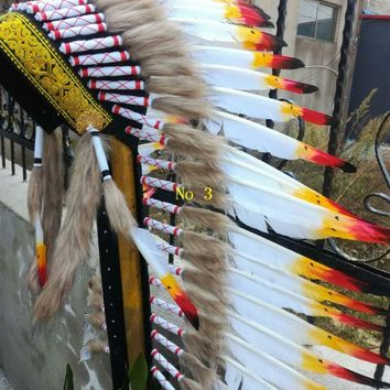 Free shipping 28inch Chief Indian feather Headdress Native American costume hand made War Bonnet halloween costume